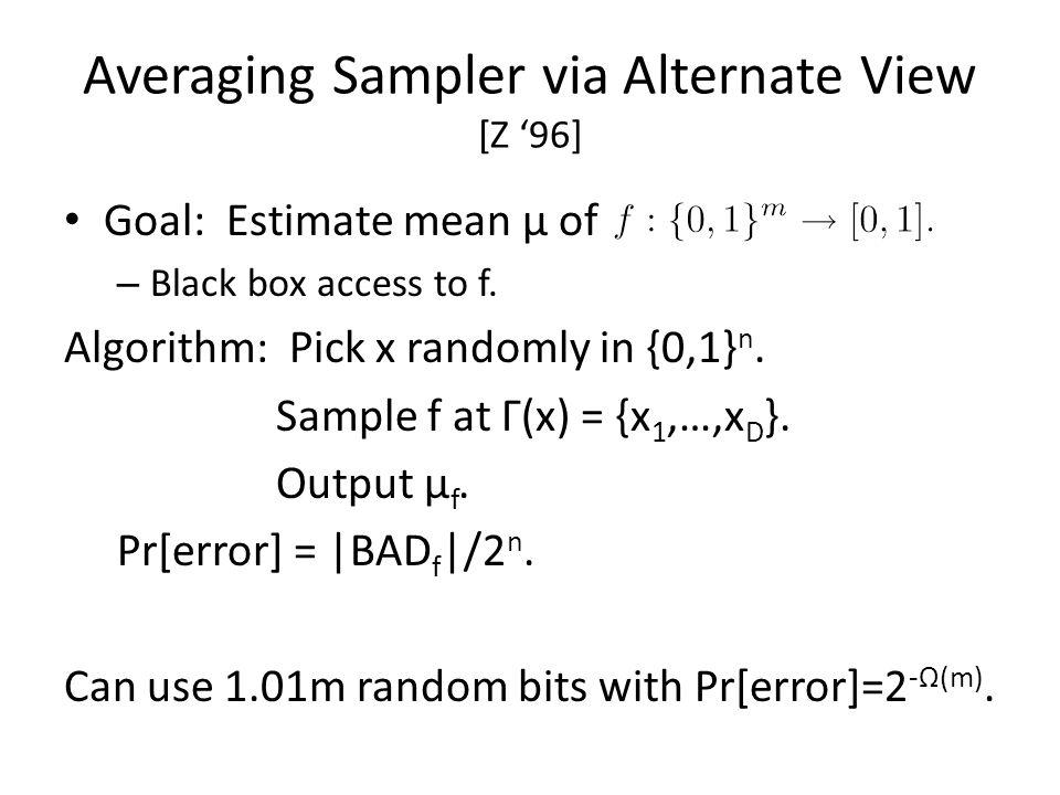 Averaging Sampler via Alternate View [Z '96]